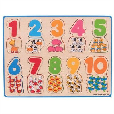 Puzzle - Zählen lernen 1-10 - Bauernhoftiere - Bigjigs