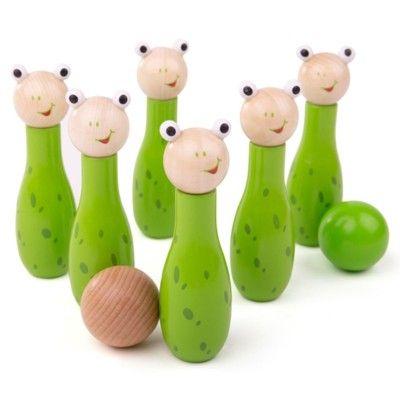 Spiel - Bowling aus Holz - Frösche - Bigjigs