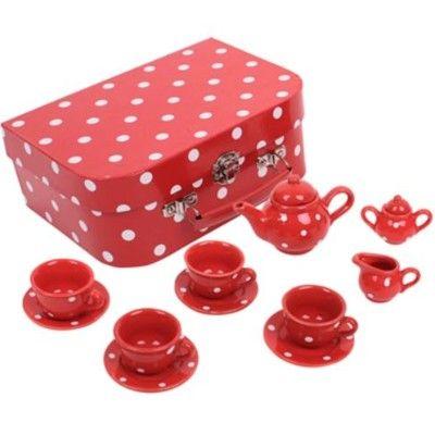 Spiel-Geschirr aus Porzellan - Rot mit weißen Punkten - Bigjigs